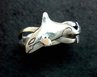 Orca - Killer Whale Wave Ring - Handmade in 14k Gold or Sterling Silver