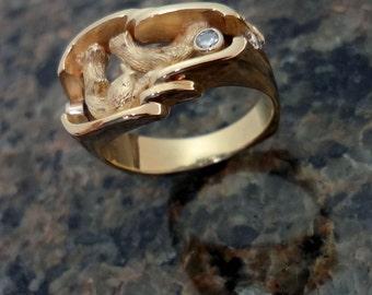 Otter Ring - Handmade in 14k Gold or Sterling Silver