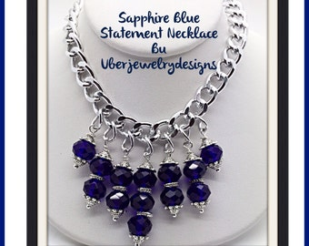 Trendy Sapphire Statement Necklace by Uberjewelrydesigns