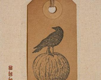 50 Small Primitive Crow on a Pumpkin Handmade Hang Tags