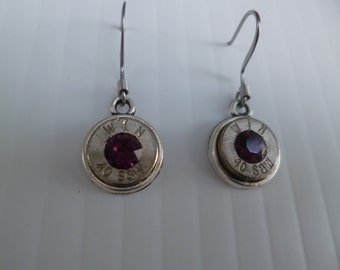 bullet dangle earrings 40 caliber smith and wesson with amethyst swarovski crystals
