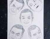MR BEAN heads pen illustration