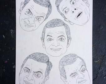 MR BEAN heads pen illustration