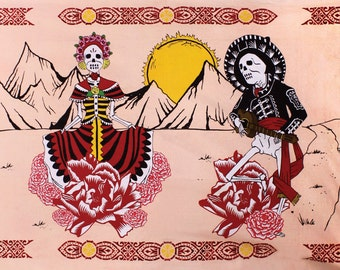 Day of The Dead Tapestry Psychedelic Sugar Skulls dia de los muertos Art 60 x 90