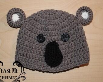 Grey Koala Bear_Crochet Koala Hat
