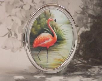 Flamingo Compact Mirror Series - Silver-Tone - Includes 4X5 Silver Sparkling Fabric Bag