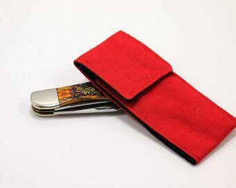 """Red """"Hunter"""" Pocket with black lining for 5 to 5 1/2 in. Folding Knife"""