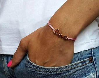 SILVER LOVE BRACELET String Bracelet Charm Bracelet Neon Bracelet Wrapp Bracelet Cord Bracelet Love Cord Bracelet