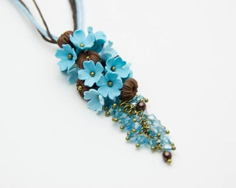 Flower necklace Floral Pendant Turquoise jewelry Turquoise pendant Turquoise necklace Flower pendant Flower jewelry Floral necklace