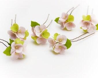 Pink hydrangea flowers Hair Pins (SET 4), Wedding Floral, Pink Hair pins, hair accessories, Bridal headpieces, summer flowers, prom