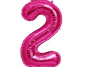 """Giant 34"""" Hot Pink Foil Number 0-9 Balloons - Choose from NUMBERS 0 thru 9"""