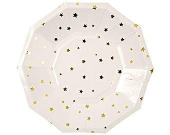 "Gold Stars Paper Plates (Set of 8) - Meri Meri 7"" Party Plates Metallic Gold"