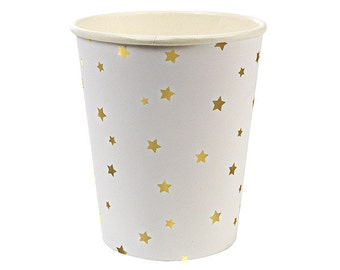 Gold Foil Stars Party Cups (Set of 8) - Meri Meri 9oz Paper Cups Metallic Gold