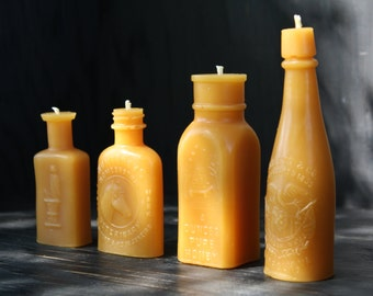 BEESWAX CANDLE pillars miniature  Collection of 4,  bottle shaped candles, Pure Clean Burning Beeswax, 100% pure beeswax by Farmer's Daughte