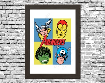 Retro Avengers Comic Wall Art Printable Instant Download