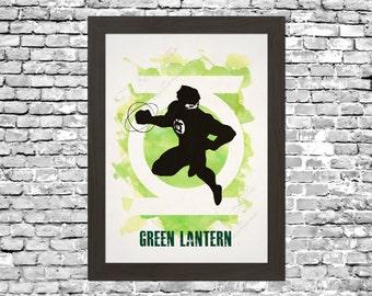 Green Lantern Watercolour Silhouette Wall Art Printable Instant Download