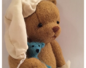 "Ooak needle felted ""bed time story"" teddy bear sculpture"