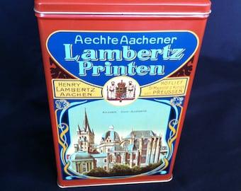 A Lambertz Printen Tin With A Hinged Lid