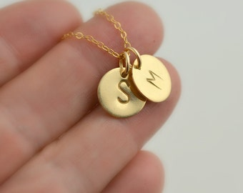 Gold Initial Necklace, Initial Disc Necklace, Round Disc Necklace, Tiny Disc Necklace, Personalized Initial Necklace,