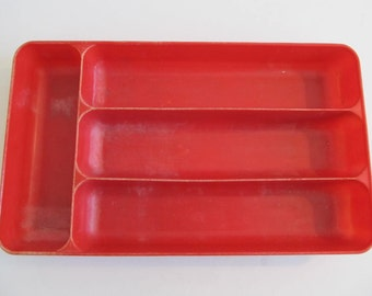 Vintage Silverware Trays, RVs, Vintage RVs, Camping, Glamping, Travel Trailers, Red Utensil Holders, Utensil Trays, Utensils, Red Trays