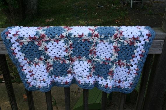 Handmade Granny Square Crochet Baby Blanket in Blue and White