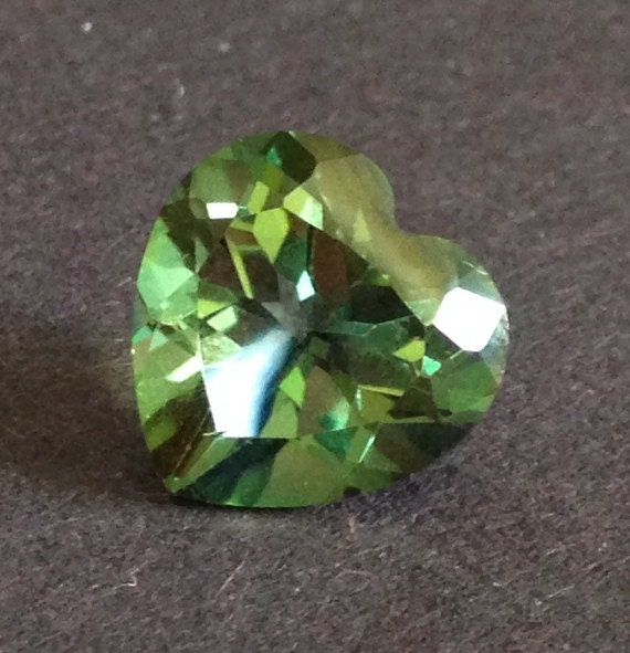 Topaz Heart 5.60 Carats 11x11mm Mystic Green Multi Color Gemstone with Video
