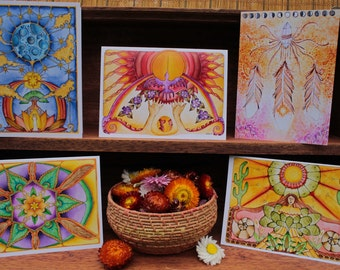 Sol Mundo Art // 5 Gift Cards Pack of Watercolor Prints with Envelopes // Visionary // Shamanic // Sacred Art