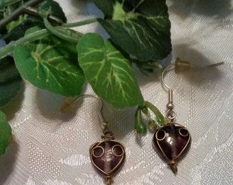 Gold Wire heart Earrings