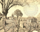 Old Cemetery Printable Spooky Goth Halloween Decoration Scrapbook Sheet Aged Photo Gravestones Headstone Image Plymouth Massachusetts Graves