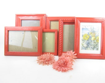 picture frame,shabby chic decor,shabby chic frame,mirror,frame set,gallery frame set,orange,wood frame,photo,picture.