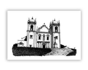 "Hand Drawn, Pen and Ink, Recife Art. Church, 8""x12"" Giclee Print of Original Drawing"