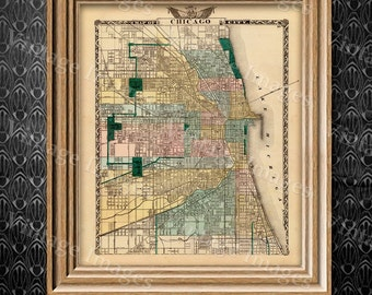 """Vintage Map of Chicago, 1857 Chicago Illinois map Antique Chicago Map Restoration Hardware Style Map up to 43"""" x 54"""" Old Chicago Wall map"""