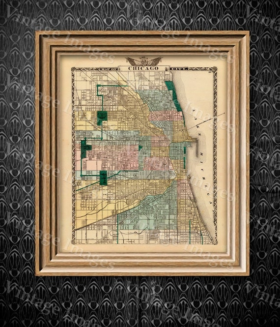 "Vintage Map of Chicago, 1857 Chicago Illinois map Antique Chicago Map Restoration Hardware Style Map up to 43"" x 54"" Old Chicago Wall map"