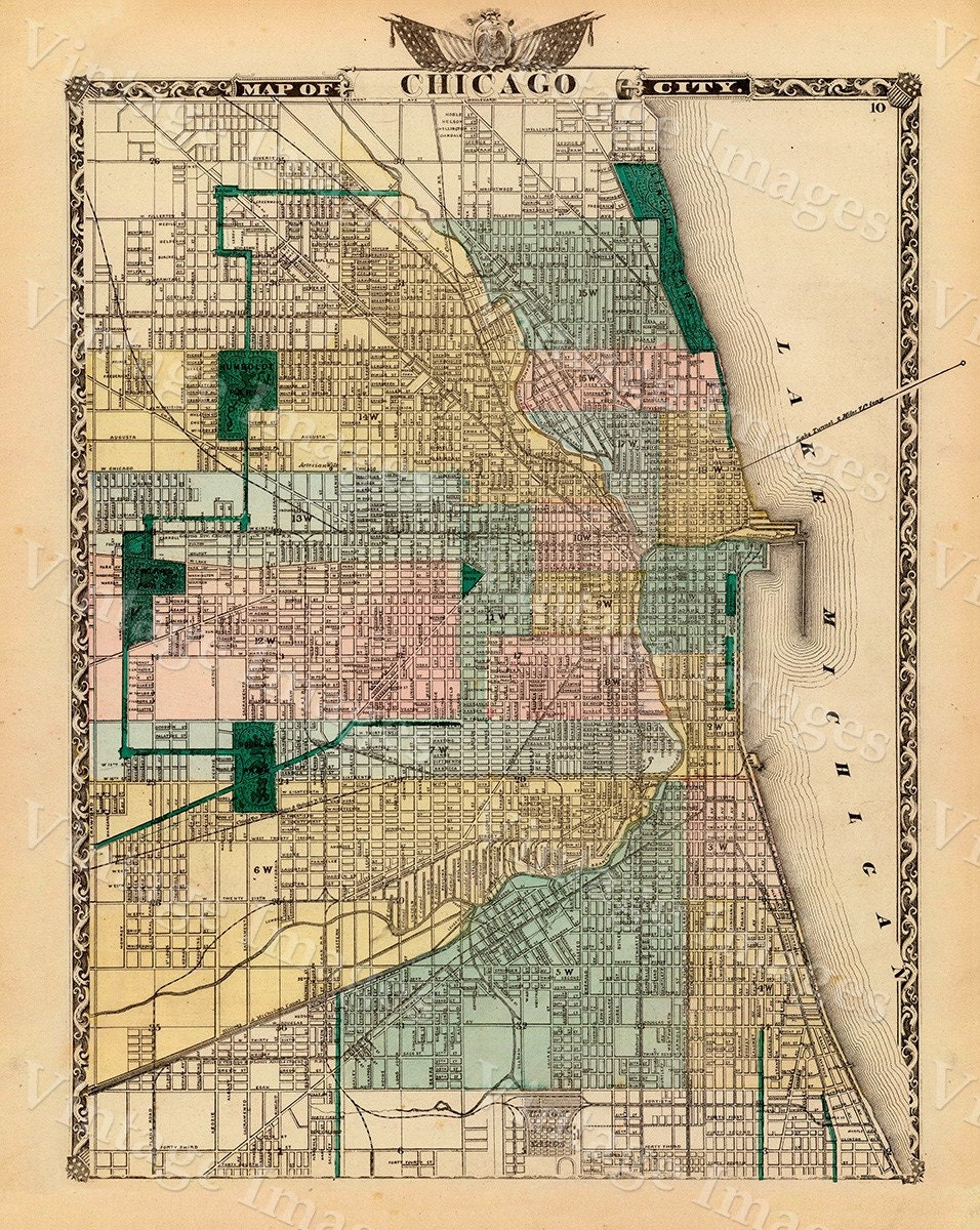 Vintage Map Of Chicago  Chicago Illinois Map Antique Chicago - Chicago map border