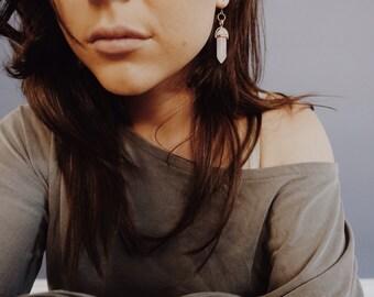 Crystal Quartz Natural Stone Gemstone Faceted Agate Dangle Drop Minimalist Boho Bohemian Hippie Hipster Earrings - Multiple Colors!