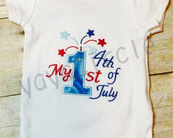 Embroidered Appliqué 'My First 4th of July' Bodysuit