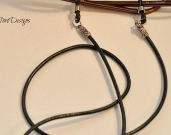 Glasses Cord, Black Leather Glasses Cord, Sunglasses Leash, Readers Chain, Leather Glasses Leash, Lanyard, Women's Eye Wear