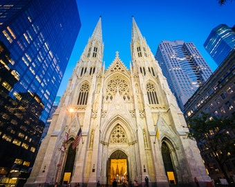 St. Patrick's Cathedral at night, in Manhattan, New York - Photography Fine Art Print or Wrapped Canvas