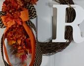 fall wreath~thanksgiving wreath~fall decor~harvest wreath~orange hydrangea~chevron burlap bow~housewarming