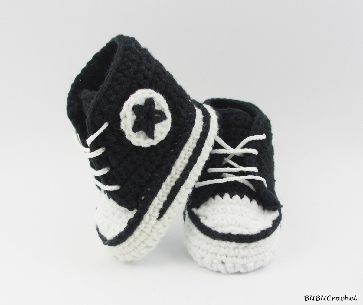 black crochet baby converse baby shoes baby sneakers by