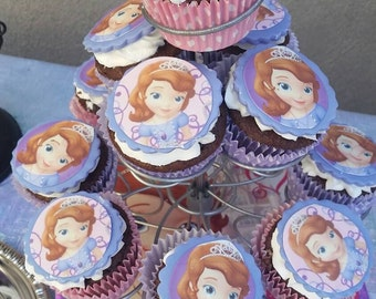 Sofia the first cupcake topper, 12 edible cupcake toppers,Toppers, cupcake toppers,sofia the first, toppers for cupcakes #dessert toppers