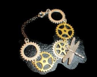Dragonfly bracelet Steampunk Bracelet Steampunk Cuff SciFi Bracelet Dragonfly Bracelet Gears Sprockets Steampunk Unique Bracelet OOAK