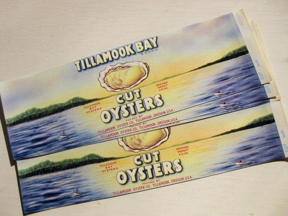 Vintage Tillamook Bay Cut Oysters labels. Set of five. Multiple sets available. Vintage labels. Advertising.