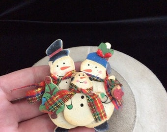 Vintage Large 3-D Wooden Triple Snowman Christmas Pin
