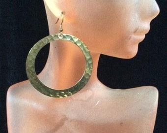 Vintage Large Goldtone Hammered Designed Dangle Earrings