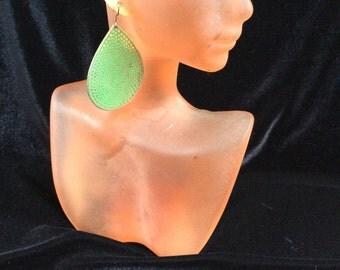 Vintage Thin Green Enameled Dangle Earrings