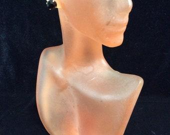 Vintage Black Rhinestone Stud Earrings