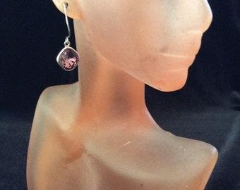 Vintage Purple Rhinestone Dangle Earrings