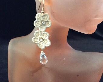 Vintage Floral Cloth Rhinestone Dangling Beaded Earrings