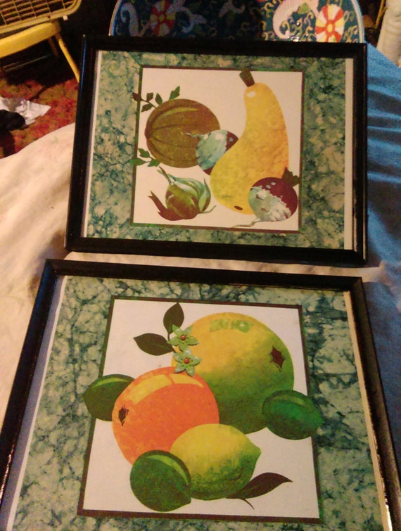 Vintage Fruit Wall Decor : Vintage fruit wall art with black frame by